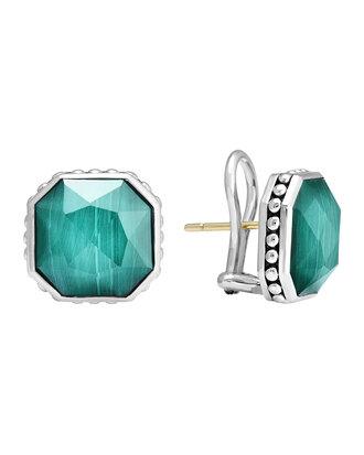 jewels 14mm sterling silver malachite rocks clip-on earrings silver earrings lagos