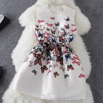 dress butterfly white dress color/pattern