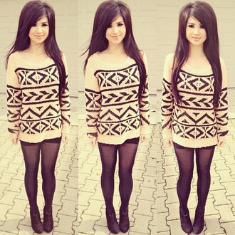 sweater cute hipster outfit aztec lovely pretty hispter knitted sweater oversized sweater black & w winter sweater swag t-shirt winter outfits