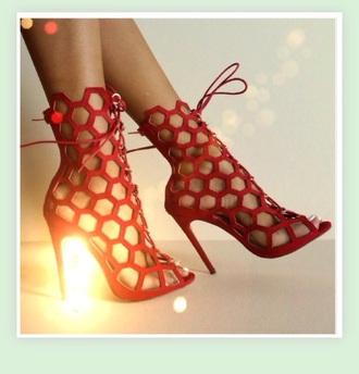 shoes red blue black high heels