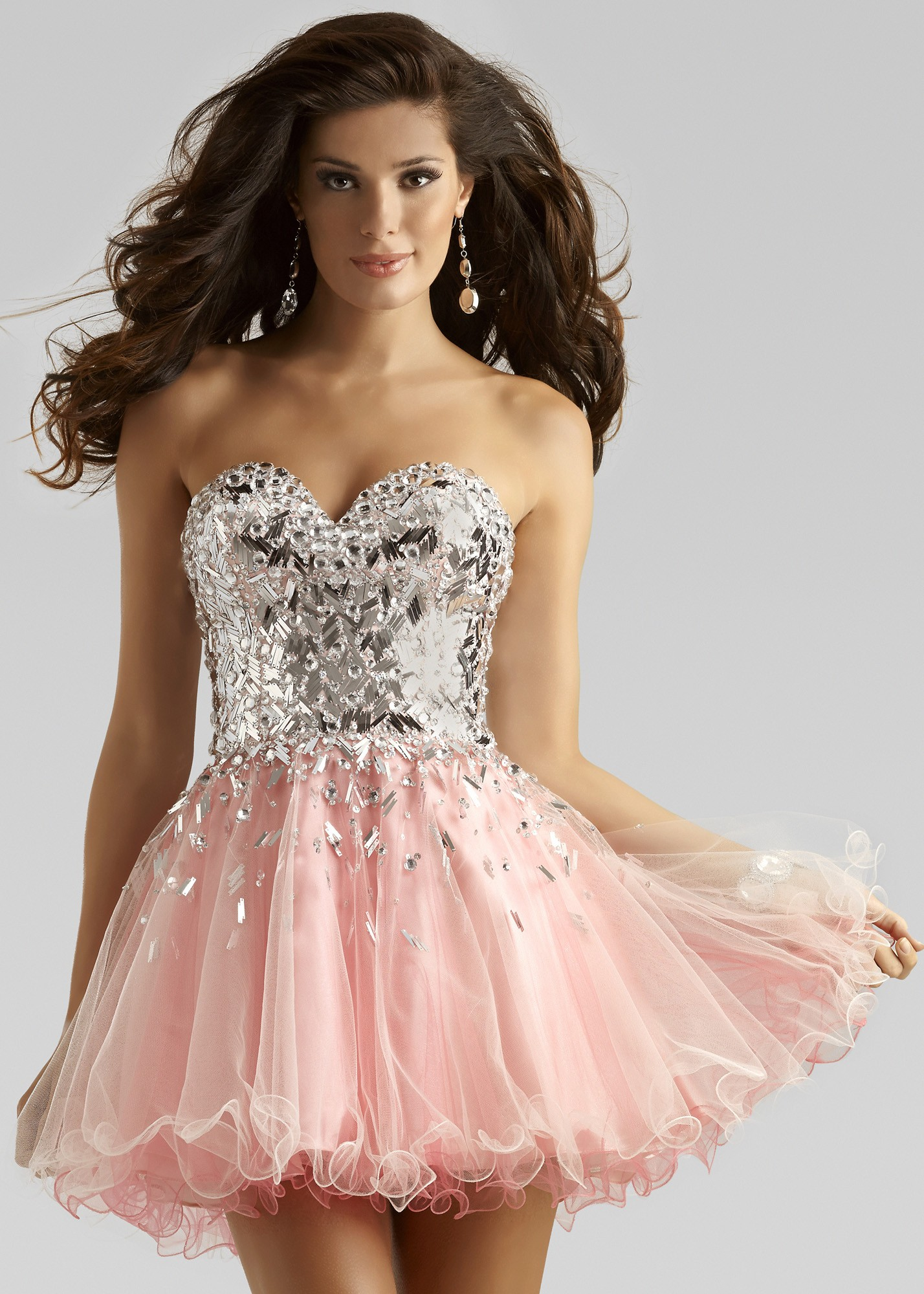 Clarisse 2391 - Strapless Beaded Short Prom Dress - RissyRoos.com ...