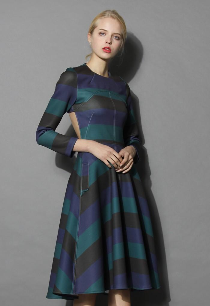 cc5902bba2c Demure Green Striped Open-back Dress - Retro