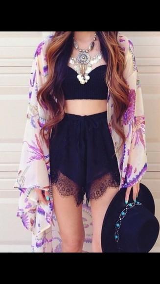 kimono cardigan purple cute