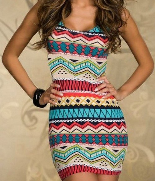dress printed dress aztec tight dress multi colored prints short dress aztec dress aztec print dress