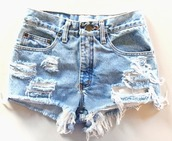 shorts,worn,tears,rips,holes,ripped shorts,denim,blue,summer,indie,hipster,pants,High waisted shorts,jeans,denim shorts