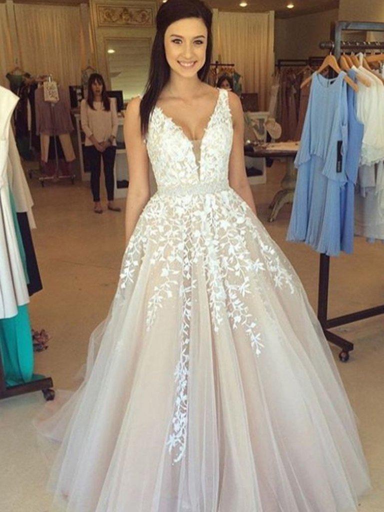 A Line V Neck Lace Wedding Dresses Lace Prom Dresses Formal