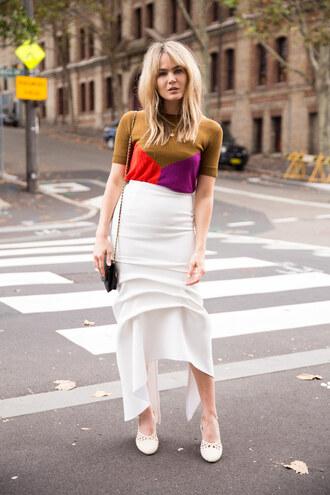 brooke testoni blogger skirt sweater t-shirt shoes bag