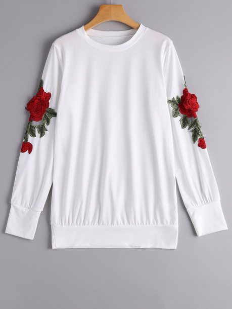 coat zaful sweatshirt floral white white top loose floral sweatshirt casual fall outfits fashion