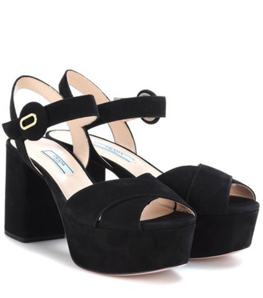 Prada sandals suede black shoes