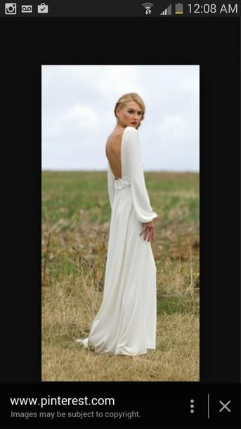 dress white dress open back dresses long dress long sleeves hipster wedding