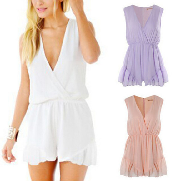 romper white romper purple playsuit chiffon pink