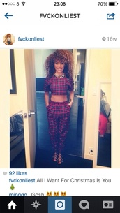 pants,plaid trousers,two-piece,crop tops,red tartan,plaid crop tops
