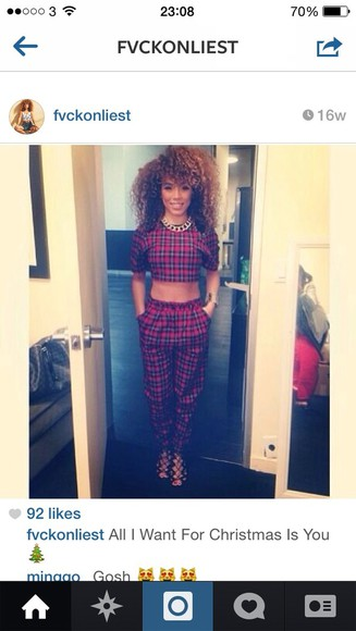 pants trousers crop tops plaid trousers 2piece red tartan plaid crop tops