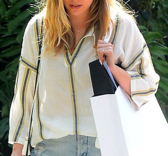 blouse celebrity style white blouse denim shorts