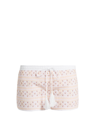 shorts embroidered white pink