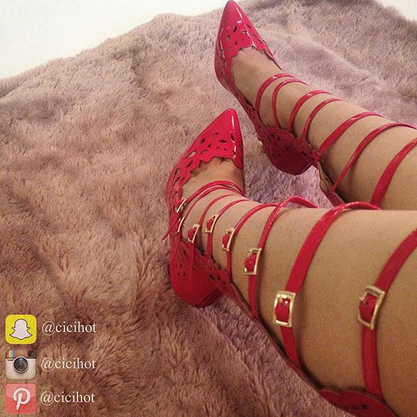 fd8ad83242a Red Faux Patent Leather Caged Pointed Toe Heels   Cicihot Heel Shoes ...