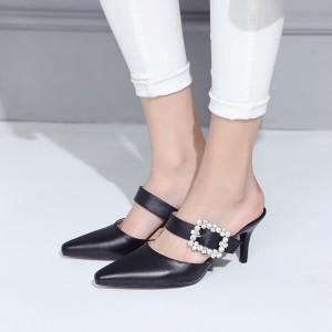 Black Kitten Heels Rhinestone Pointy Toe Mule Sandals