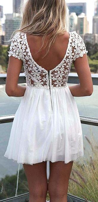 white dress lace dress flowers cute dress short sleeve floral lace short dress dress