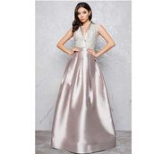dress,mac duggal,platinum,evening dress,silver dress