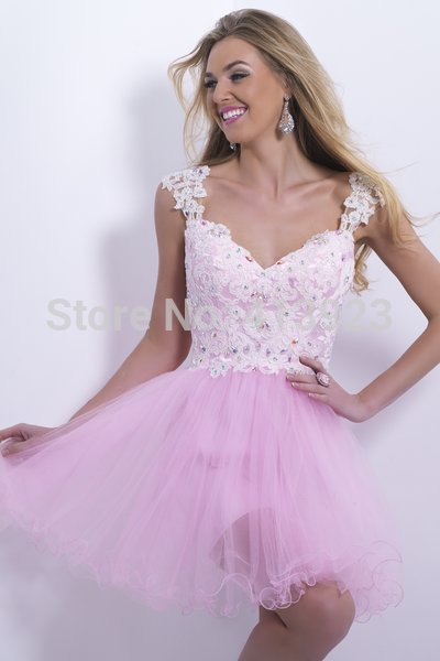 Aliexpress.com : Buy Free Shipping Pink Tulle Fabric Straps Applique Lace Design Layer Mini Cocktail Dress 2014 from Reliable designer dresses for summer suppliers on Chaozhou City Xin Aojia dress Factory