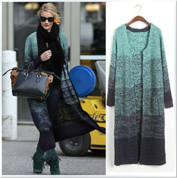 Sweater Long Sweater Cardigan Long Sleeves Round Neck Gradient