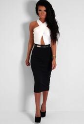 keyhole dress,midi dress,bodycon dress,black,creme,belt,gold,dress