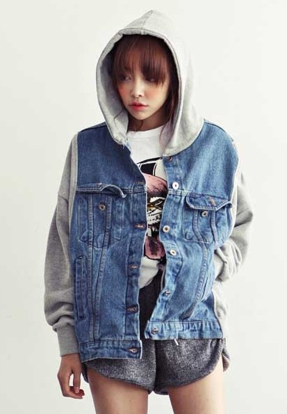 Vintage 2013 Korean New Women Military Denim Varsity Jacket Hooded Patchwork Loose Baseball Sportwear Blue S L-in Basic Jackets from Apparel & Accessories on Aliexpress.com