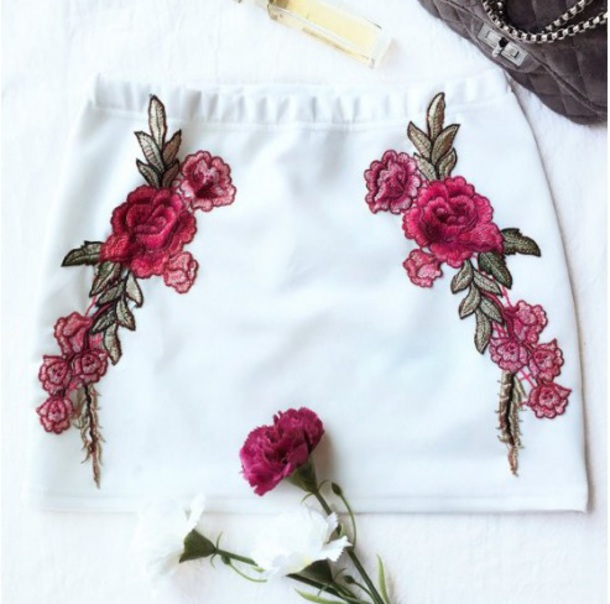 skirt girly bodycon bodycon skirt white embroidered mini mini skirt