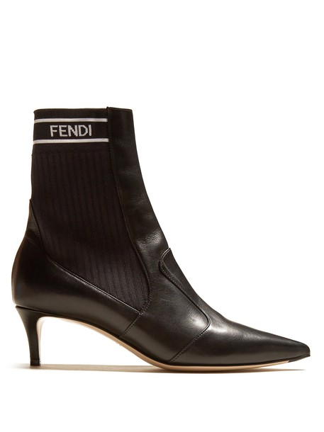 Fendi sock boots leather black shoes