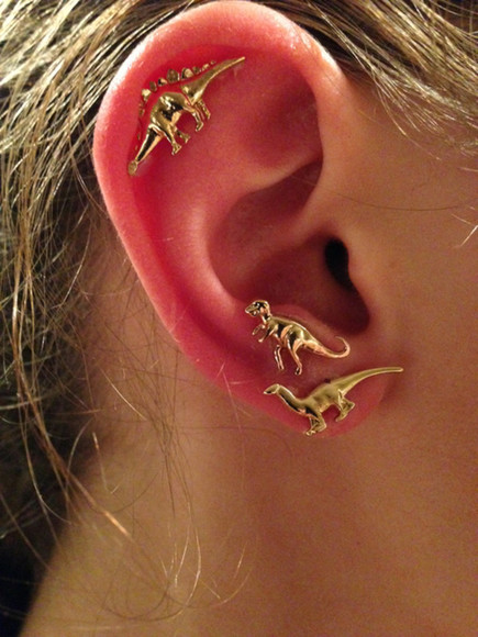 jewels earrings dinosaurs gold dinosaur stud earrings gold earrings earrings ear