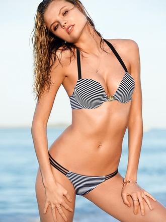swimwear stripes gray grey bikini bikini top