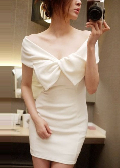 dress white dress cute sexy bow skirt clothes shirt blouse fashion