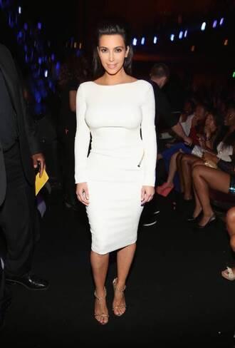 dress long sleeves white white dress kim kardashian beautiful sexy backless knee length dress long sleeve dress shirt