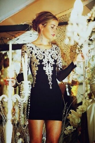 dress embroidered gold black