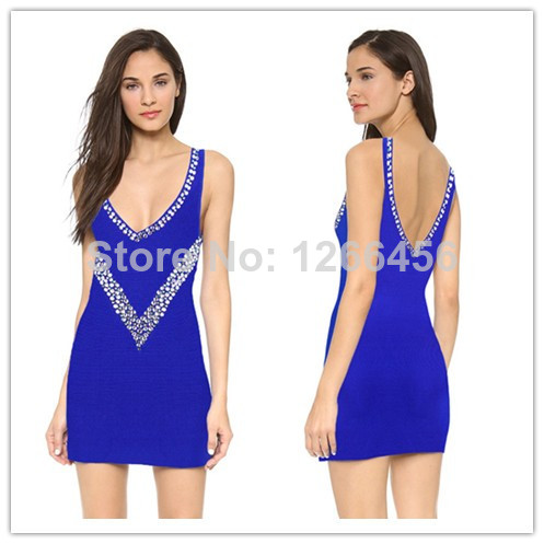 Aliexpress.com : Buy 2014 Top Quality Beaded Crystal Tank Sleeveless Deep V Sexy Backless Cocktail Club Blue Bandage Dress H968 from Reliable Party Dresses suppliers on Lady Go Fashion Shop