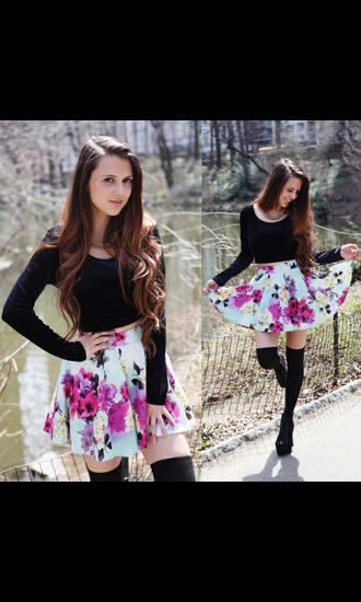 skirt top flowers skirt