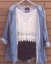 jacket,shorts,skirt,top,lace shirt,denim jacket,white,clothes,shirt,denim jacket vintage coat,denim,crochet,hoodie,outfit,fall outfits,short