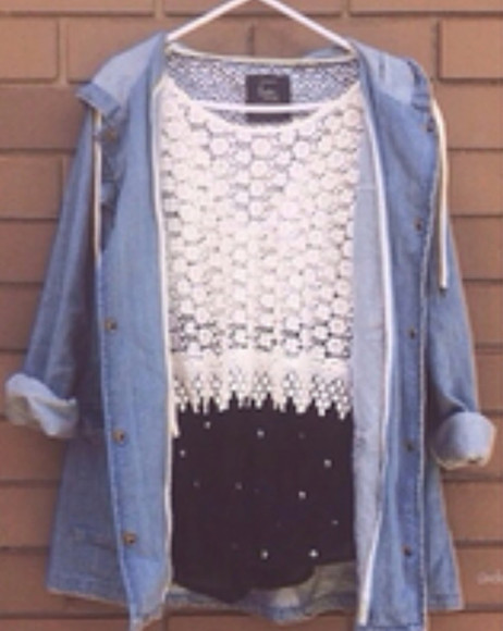 shorts lace shirt skirt jacket white top denim jacket