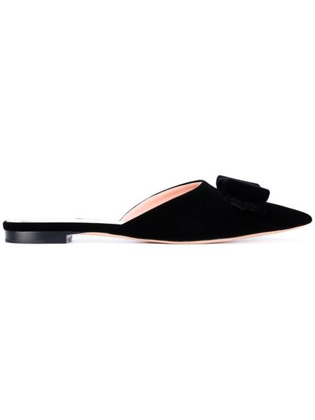 Rochas bow women mules leather black velvet shoes