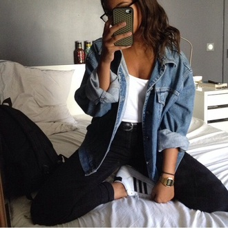 jacket denim jacket oversized denim cool adidas outfit black adidas superstars blue skinny jeans outfit idea tumblr tumblr outfit coat