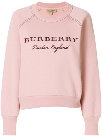 sweatshirt embroidered women cotton purple pink sweater