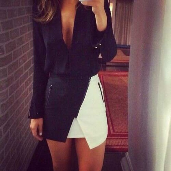 zippers skirt black and white skort