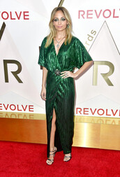 dress,green dress,green,nicole richie,wrap dress,sandals,gown,prom dress,plunge v neck,metallic