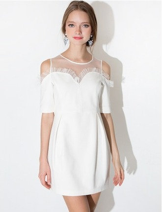 dress white dress white mesh sweetheart neckline party dress summer party dress summer dress spring dress sweet cute cute dress pixie market pixie market girl cut-out off the shoulder dress off the shoulder