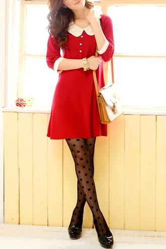 dress collar red dress stockings
