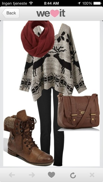 shoes brown leather boots fall outfits sweater bag grey moose print poncho sweater deer scarf leggings combat boots winter outfits pattern burgundy no pattern. boots sweaterboots holidays winter sweater slouchy slouchysweater fairisle deers exact same one cardigan christmas dear cute
