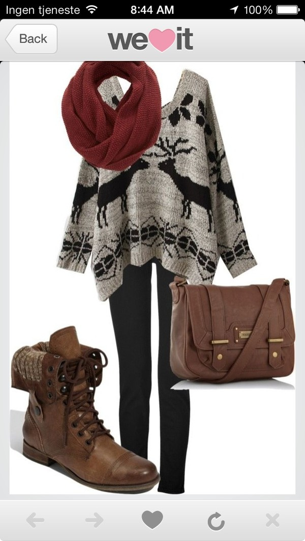 shoes brown leather boots fall outfits sweater bag grey moose print poncho sweater deer scarf leggings combat boots winter outfits pattern burgundy no pattern. boots sweaterboots deer holidays winter sweater slouchy slouchysweater fairisle deers exact same one cardigan christmas dear cute