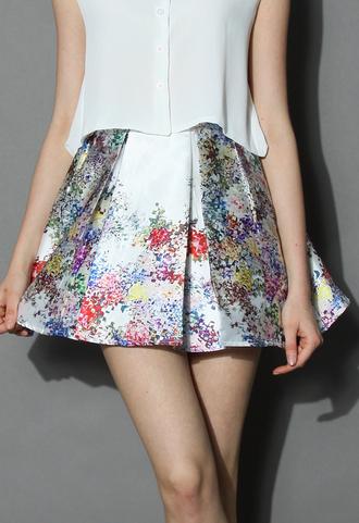 skirt chicwish flowers skirt pleated skirt pearl-white skirt floral skirt party skirt chicwish.com