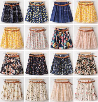 New 2014 women summer skirt casual cute above knee mini short chiffon skirts woman interlining navy blue black yellow no belt!!!