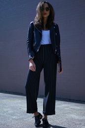 pants,top,stripes,wide-leg pants,ashley madekwe,jacket,shoes